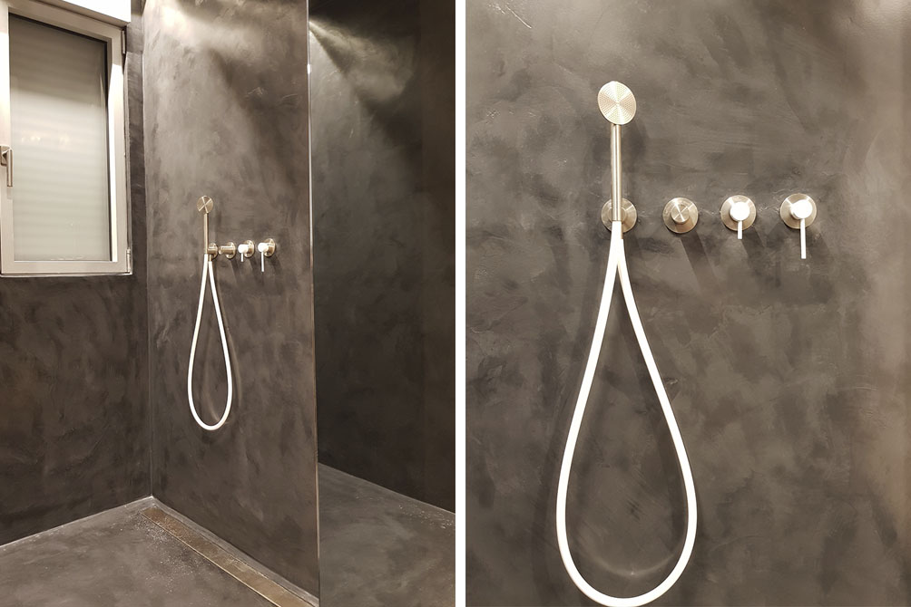 baño pared negra