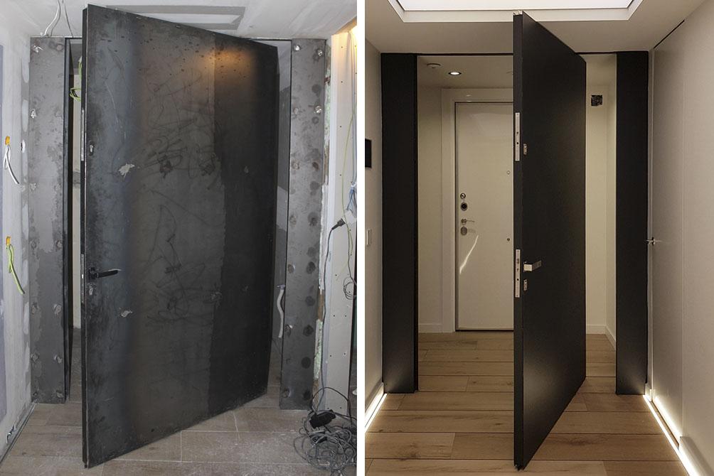 puerta pivotante negra